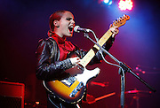Anna Calvi performs live on the Festival Republic Stage during day one of Reading Festival 2011 on August 26, 2011 in Reading, England.  (Photo by Simone Joyner)