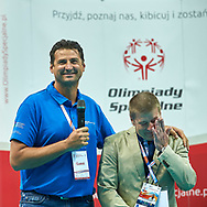 "Katowice, Poland - 2017 September 03: (L) SO Ambassador Vladimir ""Vanja"" Grbic a former Serbian volleyball player (he won a gold medal in the 2000 Summer Olympics and a bronze medal in 1996 at Atlanta) and (R) Krzysztof Krukowski (Director Organizational Development Europe Eurasia Region Special Olympics) while Awarding Ceremony during European Unified Volleyball Tournament 2017 at Spodek Hall on September 03, 2017 in Katowice, Poland.<br /> <br /> Adam Nurkiewicz declares that he has no rights to the image of people at the photographs of his authorship.<br /> <br /> Picture also available in RAW (NEF) or TIFF format on special request.<br /> <br /> Any editorial, commercial or promotional use requires written permission from the author of image.<br /> <br /> Image can be used in the press when the method of use and the signature does not hurt people on the picture.<br /> <br /> Mandatory credit:<br /> Photo by © Adam Nurkiewicz / Mediasport"