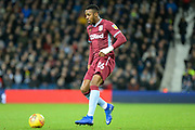 Aston Villa striker Jonathan Kodjia (26) sprints forward with the ball during the EFL Sky Bet Championship match between West Bromwich Albion and Aston Villa at The Hawthorns, West Bromwich, England on 7 December 2018.