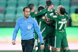 Referee Nejc Kajtazovic in front of Olimpija's celebration during football match between NK Olimpija Ljubljana and NK Aluminij in semi final of Slovenian Cup 2018/19, on April 23, 2019 in Stozice Stadium, Ljubljana, Slovenia. Photo by Morgan Kristan