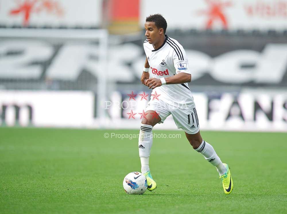 SWANSEA, WALES - Sunday, October 2, 2011: Swansea City's Scott Sinclair in action against Stoke City during the Premiership match at the Liberty Stadium. (Pic by David Rawcliffe/Propaganda)