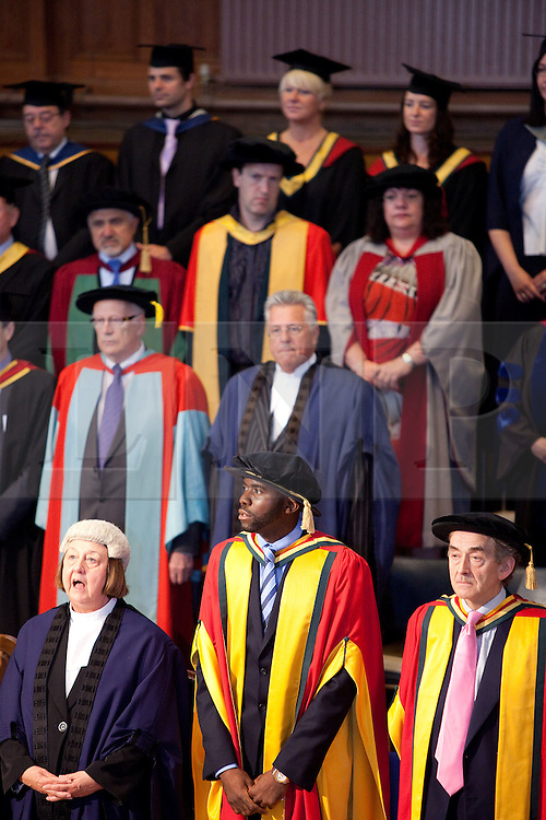 © Licensed to London News Pictures. 13/07/2012. Bolton , UK . Bolton University awards footballer Fabrice Muamba (front centre) with an honorary degree in recognition of the medical professionals who saved his life . Photo credit : Joel Goodman/LNP