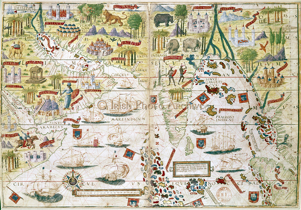 16th century Portugese map of the Indian Ocean, Persian Gulf, India and North Africa. Miller.  B.N., Paris
