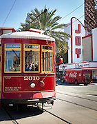 streetcar passes Joy Theater on Canal Street