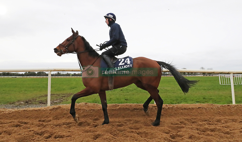 Envoi Allen on the gallops during the stable visit to Gordon Elliott's yard at Cullentra House, County Meath.