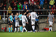 &Ouml;STERSUND, SWEDEN - AUGUST 24: Players of PAOK Saloniki FC in discussion with Paweł Raczkowski, referee, after of Oestersunds FK has scored to 2-0 during the UEFA Europa League Qualifying Play-Offs round second leg match between &Ouml;stersunds FK and PAOK Saloniki at J&auml;mtkraft Arena on August 24, 2017 in &Ouml;stersund, Sweden. Foto: Nils Petter Nilsson/Ombrello<br /> ***BETALBILD***