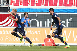 07.08.2016, Voith Arena, Heidenheim, GER, 2. FBL, 1. FC Heidenheim vs FC Erzgebirge Aue, 1. Runde, im Bild Sebastian Griesbeck ( 1.FC Heidenheim ) Martin Maennel ( FC Erzgebirge Aue ) Tim Kleindienst ( 1.FC Heidenheim ) Jubel nach dem 1:0 // during the 2nd German Bundesliga 1st round match between 1. FC Heidenheim and FC Erzgebirge Aue Voith Arena in Heidenheim, Germany on 2016/08/07. EXPA Pictures © 2016, PhotoCredit: EXPA/ Eibner-Pressefoto/ Langer<br /> <br /> *****ATTENTION - OUT of GER*****
