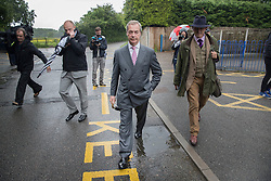 © Licensed to London News Pictures. 23/06/2016. Biggin Hill, UK. UKIP party leader Nigel Farage walks home after voting in the EU referendum. Polls have opened for voting - with counting starting after polls close at 10PM.Photo credit: Peter Macdiarmid/LNP