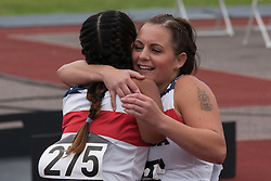 Lee Valley Athletic Centre, London, September 11th 2014. Melissa Coduti  congratulates her runner-up Tatiana Perkins after winning the Women's 100m Ambulant T3 final for the United States.