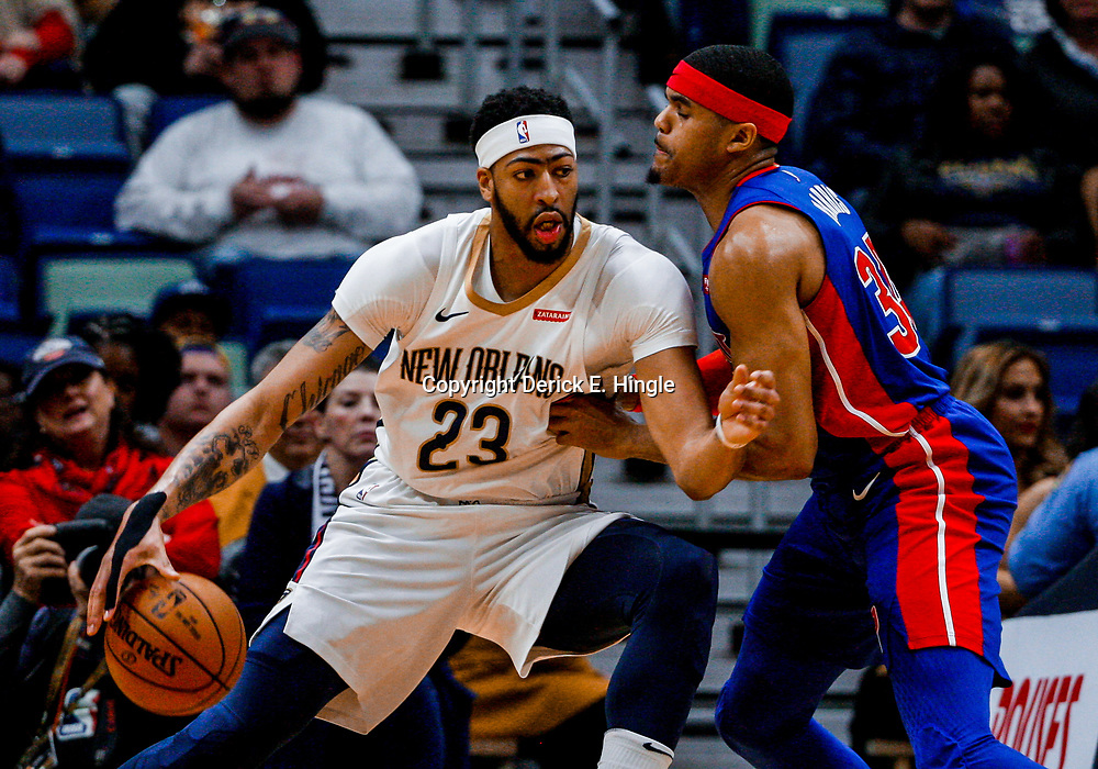 Jan 8, 2018; New Orleans, LA, USA; New Orleans Pelicans forward Anthony Davis (23) is defended by Detroit Pistons forward Tobias Harris (34) during the first quarter at the Smoothie King Center. Mandatory Credit: Derick E. Hingle-USA TODAY Sports