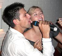 """**EXCLUSIVE**.Novak Djokovic & Maria Sharapova  singing """"Love is in the Air"""" together.After losing the US Open to Roger Federer Novak Djokovic parties with Maria Sharapova and Jeffery Dread.Unik's Karaoke Sunday Party.Cipriani Downtown .New York City, NY, USA.Sunday, September, 09, 2007.Photo By Selma Fonseca/ Celebrityvibe.com.To license this image call (212) 410 5354 or;.Email: celebrityvibe@gmail.com; .Website: http://www.celebrityvibe.com/."""