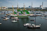 Amsterdam, Netherlands, August 19, 2015.  The view from the mast of Tallship Thalassa, a Dutch Barqentine form Harlingen. Alexander von Humboldt is a German sailing ship originally built in 1906 by the German shipyard AG Weser at Bremen as the lightship Reserve Sonderburg. She was operated throughout the North and Baltic Seas until being retired in 1986. Subsequently she was converted into a three masted barque by the German shipyard Motorwerke Bremerhaven and was re-launched in 1988 as Alexander von Humboldt. Hundreds of ships join the Tallships on their way from Ijmuiden to their destination Amsterdam, for the Sail Amsterdam 2015. Photo by Frits Meyst / Meystphoto.com