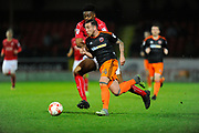 Samir Carruthers (44) of Sheffield United on the attack with Rohan Ince (23) of Swindon Town closing him down during the EFL Sky Bet League 1 match between Swindon Town and Sheffield Utd at the County Ground, Swindon, England on 14 March 2017. Photo by Graham Hunt.