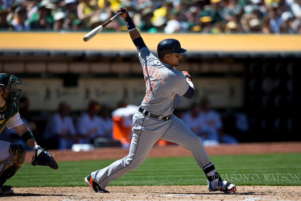 OAKLAND, CA - MAY 26:  Victor Martinez #41 of the Detroit Tigers at bat against the Oakland Athletics during the sixth inning at O.co Coliseum on May 26, 2014 in Oakland, California. The Oakland Athletics defeated the Detroit Tigers 10-0.  (Photo by Jason O. Watson/Getty Images) *** Local Caption *** Victor Martinez