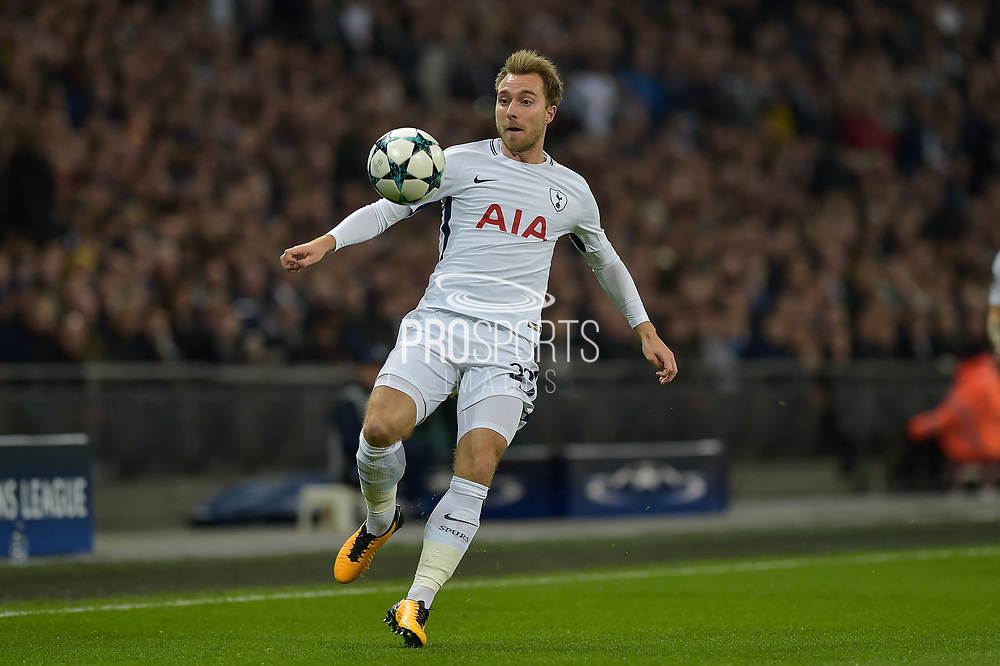 Tottenham Hotspur Midfielder, Christian Eriksen (23) during the Champions League match between Tottenham Hotspur and Real Madrid at Wembley Stadium, London, England on 1 November 2017. Photo by Adam Rivers.