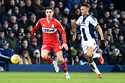 Middlesbrough midfielder (on loan from Everton) Muhamed Besic (37) looks to release the ball  under pressure from West Bromwich Albion defender Kieran Gibbs (3) during the EFL Sky Bet Championship match between West Bromwich Albion and Middlesbrough at The Hawthorns, West Bromwich, England on 2 February 2019.