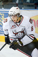 KELOWNA, CANADA, NOVEMBER 9: Stephen Hak #6 of the Red Deer Rebels skates on the ice during warm up as the Red Deer Rebels visit the Kelowna Rockets  on November 9, 2011 at Prospera Place in Kelowna, British Columbia, Canada (Photo by Marissa Baecker/Shoot the Breeze) *** Local Caption ***