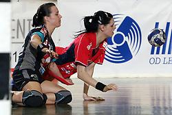 Manuela Hrnjic of Krim and Alja Koren of Celje at handball game ZRK Celje Celjske Mesnine vs RK Krim Mercator in final match of Slovenian Handball Cup,  on April 6, 2008 in Arena Golovec, Celje, Slovenia. Krim won the game 31:21 and became Cup Winner.  (Photo by Vid Ponikvar / Sportal Images)