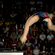 A competitor during the women's 10  meter platform diving competition at the 2015 PanAm Games in Toronto.