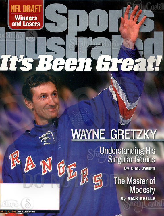 Apr 26, 1999; New York, NY, USA; Cover scan of Sports Illustrated the Magazine with NHL Hall of Fame Ice Hockey Player WAYNE GRETZKY waving to the crowd after his last professional game before retirement. <br />