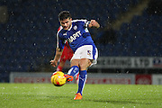 Chesterfield FC miffielder Sam Morsy strikes the ball during the Sky Bet League 1 match between Chesterfield and Swindon Town at the Proact stadium, Chesterfield, England on 28 November 2015. Photo by Aaron Lupton.