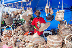 Andrew Eusebe sells Caribbean Original crafts and products.  20th Annual Bordeaux Farmers Rastafari Agricultural & Cultural Vegan Food Fair.  Bordeaux Farmers Market.  St. Thomas, USVI.  14 January 2017.  © Aisha-Zakiya Boyd