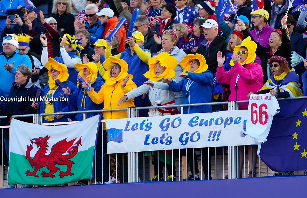 Solheim Cup 2019 at Centenary Course at Gleneagles in Scotland, UK. Pictured. Europe fans from Wales at 1st tee on final day.