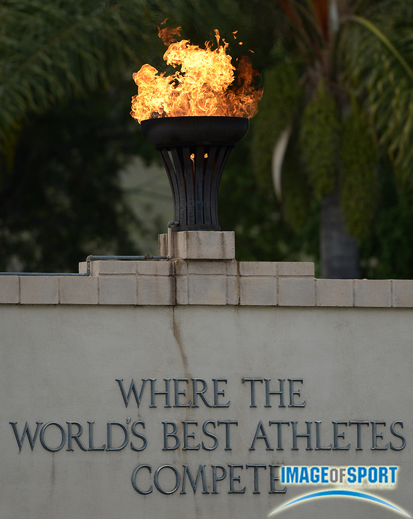 Apr 17, 2014; Walnut, CA, USA; General view of the Olympic torch at the 56th Mt. San Antonio College Relays at Hilmer Lodge Stadium.