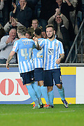 Coventry City striker Adam Armstrong celebrates the equaliser during the Sky Bet League 1 match between Coventry City and Peterborough United at the Ricoh Arena, Coventry, England on 31 October 2015. Photo by Alan Franklin.