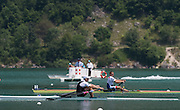 Aiguebelette, FRANCE. NZL M1X,  Mahe DRYSDALE heading for the finishing line at the 2014 FISA World Cup II. 13:54:54  Sunday  22/06/2014. [Mandatory Credit; Peter Spurrier/Intersport-images]