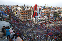 May 5, 2017 - Lalitpur, Nepal - Nepalese revelers pull the chariot of the ''God of Rain'' Rato Machhindranath during the chariot festival in Lalitpur, Nepal on Friday, May 05, 2017. (Credit Image: © Skanda Gautam via ZUMA Wire)