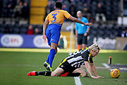 Notts County forward Craig Mackail-Smith (28) is fouled by Mansfield Town Defender Malvind Benning (3) during the EFL Sky Bet League 2 match between Notts County and Mansfield Town at Meadow Lane, Nottingham, England on 16 February 2019.