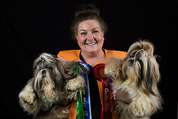 © Licensed to London News Pictures. 10/03/2016. Birmingham, UK. Sharon Galliford with her Shih Tzus named Hugo Boss and Mr Darcy at Crufts 2016 held at the NEC in Birmingham, West Midlands, UK. The world's largest dog show, Crufts is this year celebrating it's 125th anniversary. The annual event is organised and hosted by the Kennel Club and has been running since 1891. Photo credit : Ian Hinchliffe/LNP