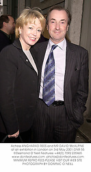 Actress ANGHARAD REES and MR DAVID McALPINE at an exhibition in London on 3rd May 2001.ONR 55