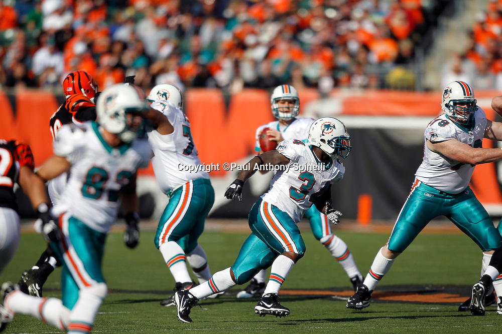 Miami Dolphins running back Ricky Williams (34) goes out for a pass during the NFL week 8 football game against the Cincinnati Bengals on Sunday, October 31, 2010 in Cincinnati, Ohio. The Dolphins won the game 22-14. (©Paul Anthony Spinelli)