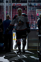 KELOWNA, CANADA - MARCH 7:  Libor Zabransky #7 of the Kelowna Rockets exits the ice after warm up against the Vancouver Giants on March 7, 2018 at Prospera Place in Kelowna, British Columbia, Canada.  (Photo by Marissa Baecker/Shoot the Breeze)  *** Local Caption ***