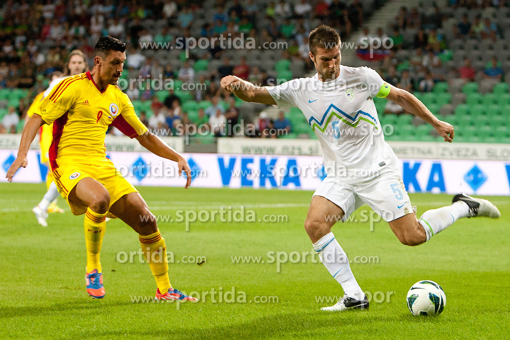 Bostjan Cesar of Slovenia during friendly football match between national teams of Slovenia and Romania, on August 15, 2012 in Ljubljana, Slovenia.  (Photo by Urban Urbanc / Sportida.com)