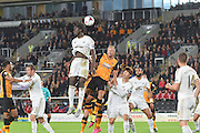 Eder  clears the ball away from the goalarea during the Capital One Cup match between Hull City and Swansea City at the KC Stadium, Kingston upon Hull, England on 22 September 2015. Photo by Ian Lyall.