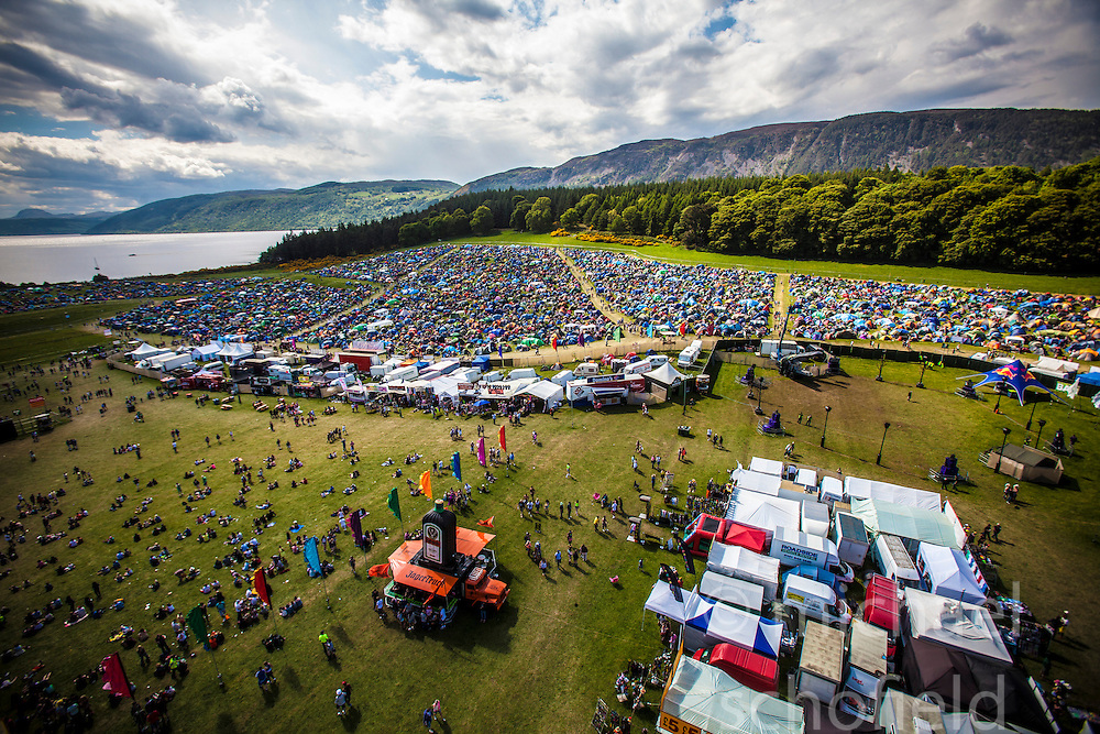 """The view from the Giant Wheel, overlooking the main campsite area. Saturday at Rockness 2013, the annual music festival which took place in Scotland at Clune Farm, Dores, on the banks of Loch Ness, near Inverness in the Scottish Highlands. The festival is known as """"the most beautiful festival in the world"""" ."""