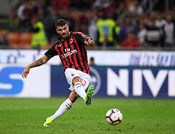 MILAN, Sept. 1, 2018  AC Milan's Patrick Cutrone scores the second goal during a Serie A soccer match between AC Milan and AS Roma in Milan, Italy, Aug. 31, 2018. AC Milan won 2-1. (Credit Image: © Alberto Lingria/Xinhua via ZUMA Wire)
