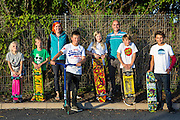 Amanda Pennington and Mr Hawkey with a group of Wadebridge youngsters that WREN community energy has given funds received from the FITS from their solar array to a project that build a local skate park within the town. Wadebridge, Cornwall. UK