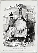 A Dangerous Character': Cartoon from 'Punch', London, 1847, at the time of Railway Mania when rapid expansion of the railways made it necessary for Parliament to pass laws to regulate them. The arresting officer is Colonel Charles Sibthorp, MP for Lincoln, who had the reputation of being against almost everything.