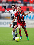 OSTERSUND, SWEDEN - APRIL 21: Nahir Besara of Orebro SK and Tom Pettersson of Ostersunds FK during the Allsvenskan match between Ostersunds FK and Orebro SK at Jamtkraft Arena on April 21, 2018 in Ostersund, Sweden. Photo by Nils Petter Nilsson/Ombrello ***BETALBILD***