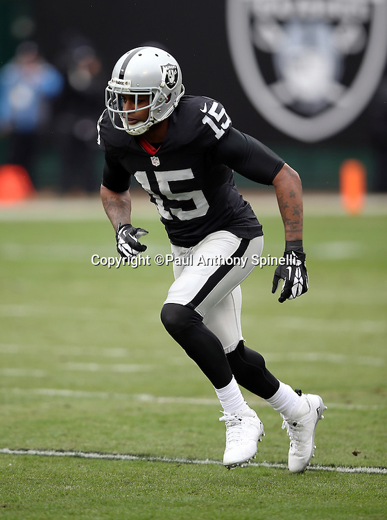 Oakland Raiders wide receiver Michael Crabtree (15) goes out for a pass during the 2015 week 15 regular season NFL football game against the Green Bay Packers on Sunday, Dec. 20, 2015 in Oakland, Calif. The Packers won the game 30-20. (©Paul Anthony Spinelli)
