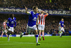 30.11.2013, Goodison Park, Liverpool, ENG, Premier League, FC Everton vs Stoke City, 13. Runde, im Bild Everton's Seamus Coleman celebrates scoring the second goal against Stoke City // during the English Premier League 13th round match between Everton FC and Stoke City FC at the Goodison Park in Liverpool, Great Britain on 2013/11/30. EXPA Pictures &copy; 2013, PhotoCredit: EXPA/ Propagandaphoto/ David Rawcliffe<br /> <br /> *****ATTENTION - OUT of ENG, GBR*****