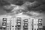 .A storm over panel flats. Classic socialist apartments..from Neighborhoods neighborhoods series.