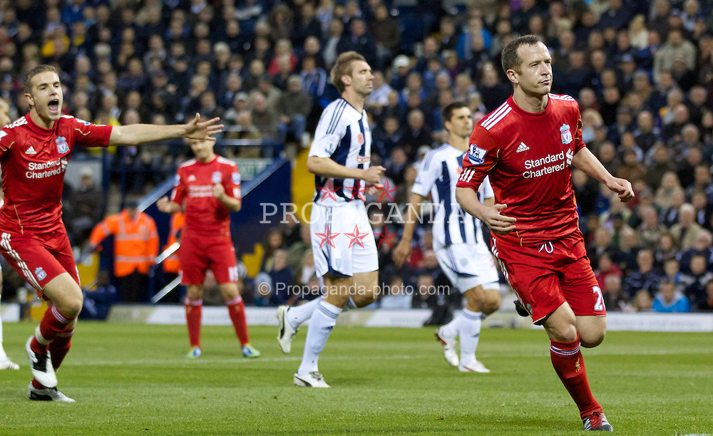 WEST BROMWICH, ENGLAND - Saturday, October 29, 2011: Liverpool's Charlie Adam scores the first goal against West Bromwich Albion from the penalty spot during the Premiership match at The Hawthorns. (Pic by Vegard Grott/Propaganda)