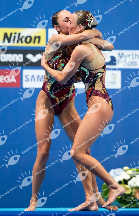 ANANASOVA Lolita and VOLOSHYNA Anna UKR bronze medal<br /> Synchro - Duet free final<br /> Day 07 30/07/2015<br /> XVI FINA World Championships Aquatics Swimming<br /> Kazan Tatarstan RUS July 24 - Aug. 9 2015 <br /> Photo Giorgio Perottino/Deepbluemedia/Insidefoto