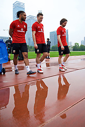 NANNING, CHINA - Saturday, March 24, 2018: Wales' captain Ashley Williams, James Chester and Joe Allen during a training session at the Guangxi Sports Centre ahead of the 2018 Gree China Cup International Football Championship final match against Uruguay. (Pic by David Rawcliffe/Propaganda)