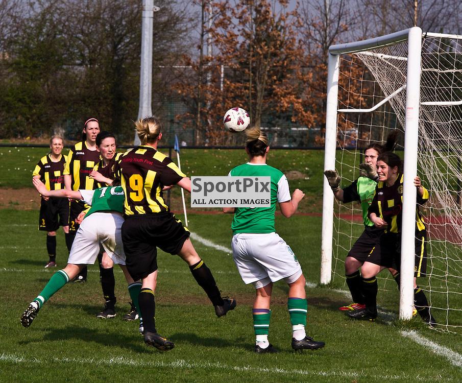 Hibs Lisa Robertson (10) stoops to score. Hutchison Vale; Hibernian; Womens Premier League; 25 March 2012